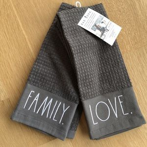 Rae Dunn Grey Kitchen Towels. Set of 2.
